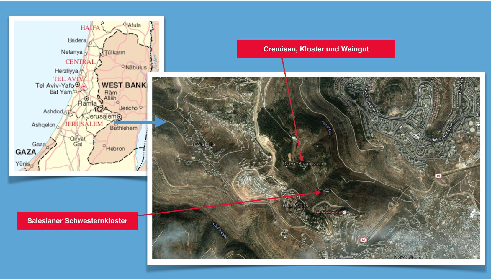 Karte Kloster Cremisan 1